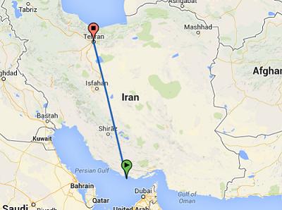 عکس نقشه مسیر تهران به کیش